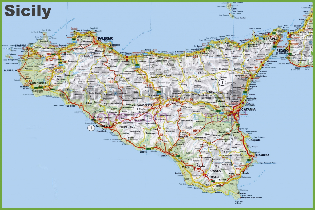 Large Detailed Road Map Of Sicily intended for Printable Map Of Sicily