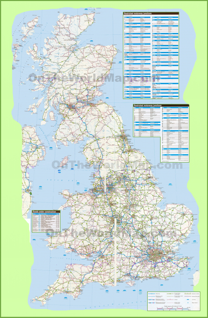 Large Detailed Road Map Of Uk regarding Printable Road Maps Uk