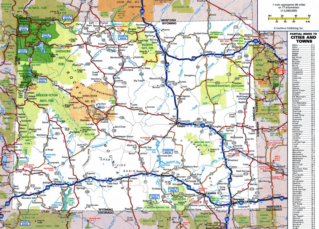 Large Detailed Roads And Highways Map Of Wyoming State With National for Printable Map Of Wyoming