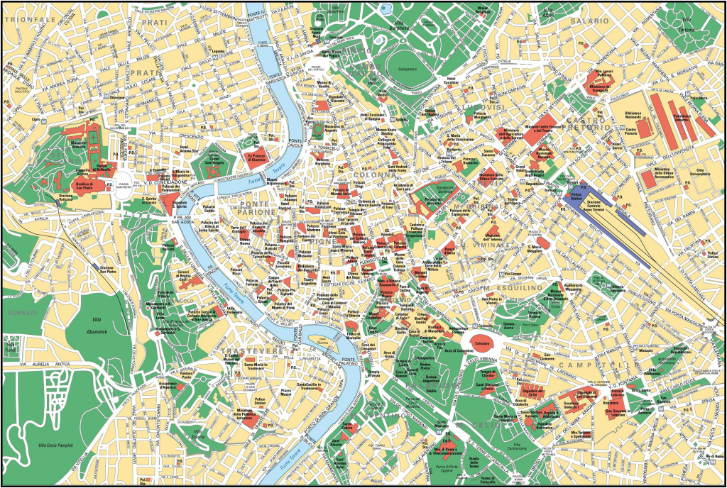Large Detailed Street Map Of Rome City Center. Rome City Center within Street Map Rome City Centre Printable