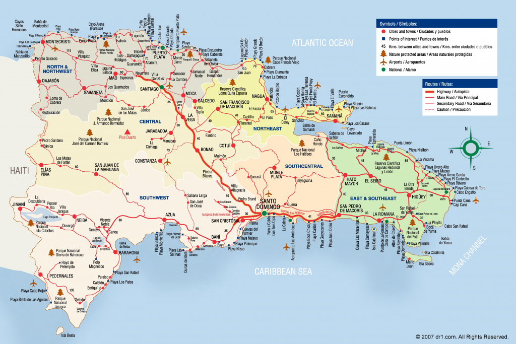 Large Detailed Tourist Map Of Dominican Republic within Printable Map Of Dominican Republic