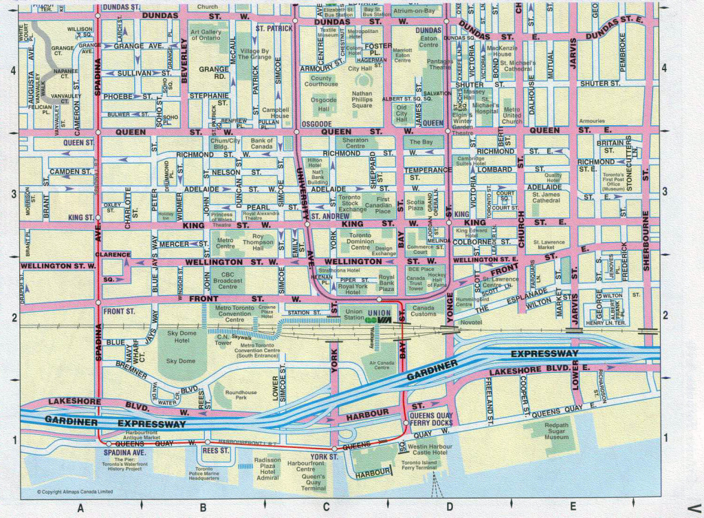Large Detailed Tourist Map Of Downtown Of Toronto City | Vidiani with regard to Printable Map Of Downtown Toronto