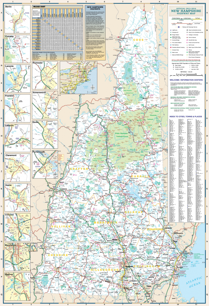 Large Detailed Tourist Map Of New Hampshire With Cities And Towns throughout Printable Road Map Of New Hampshire