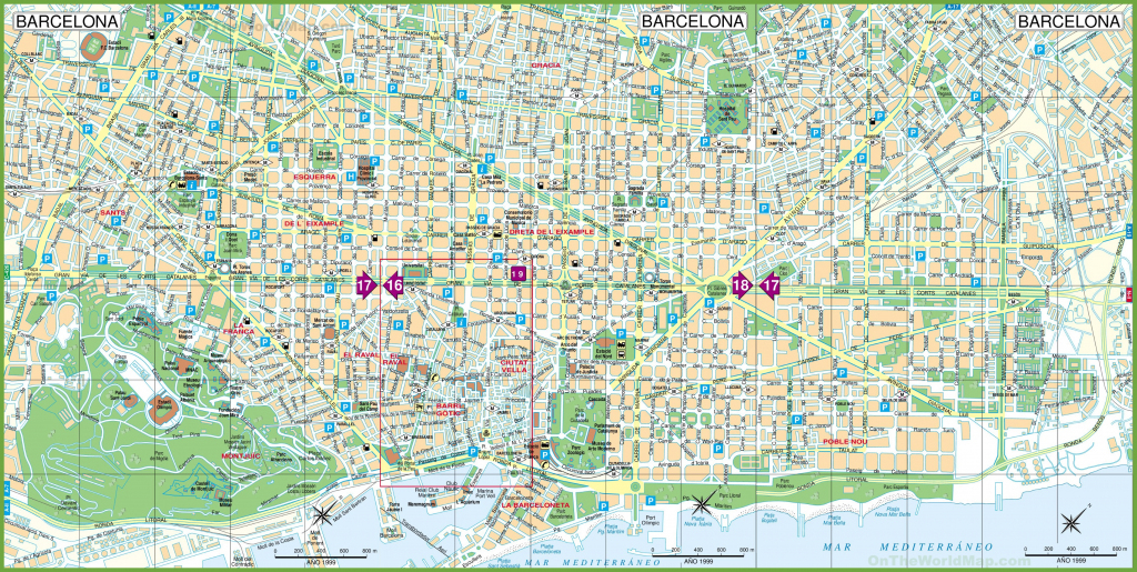 Large Detailed Tourist Street Map Of Barcelona with regard to Barcelona Street Map Printable