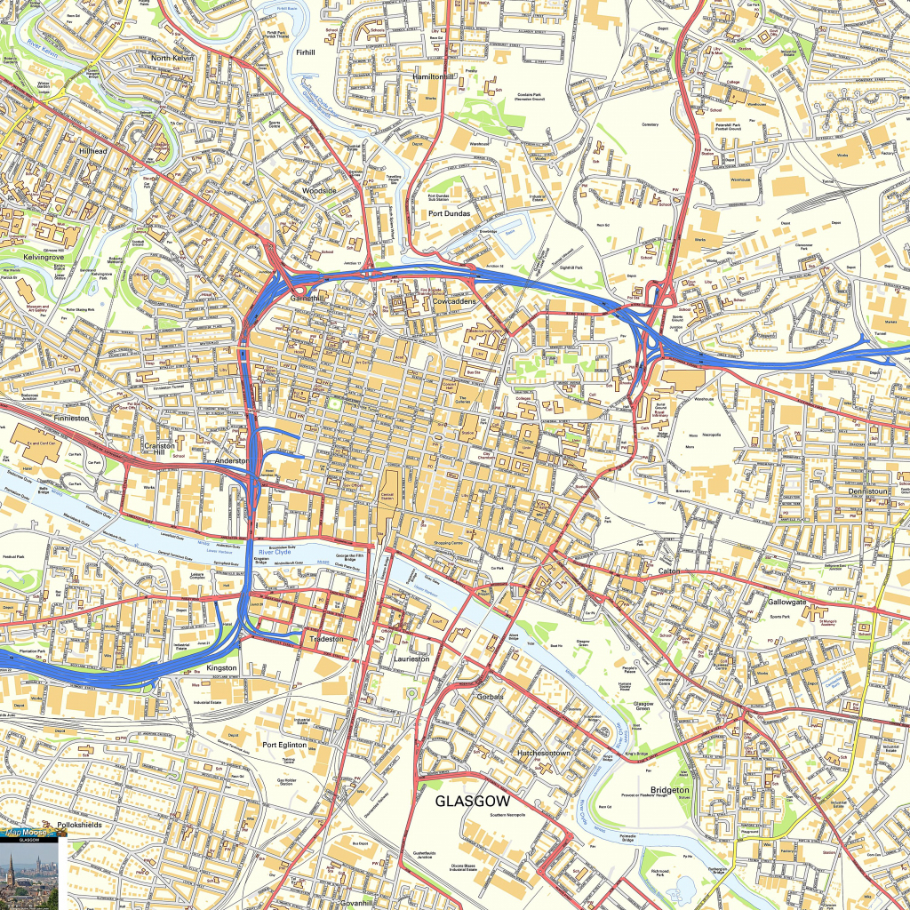 Large Glasgow Maps For Free Download And Print | High-Resolution And for Glasgow City Map Printable