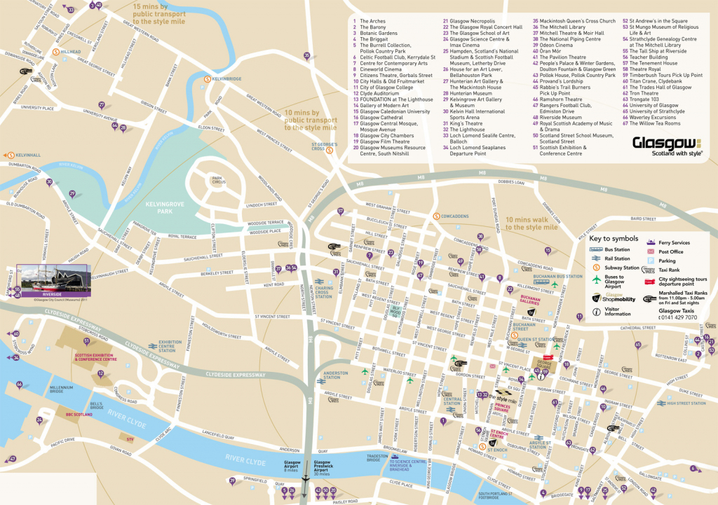 Large Glasgow Maps For Free Download And Print | High-Resolution And throughout Bristol City Centre Map Printable