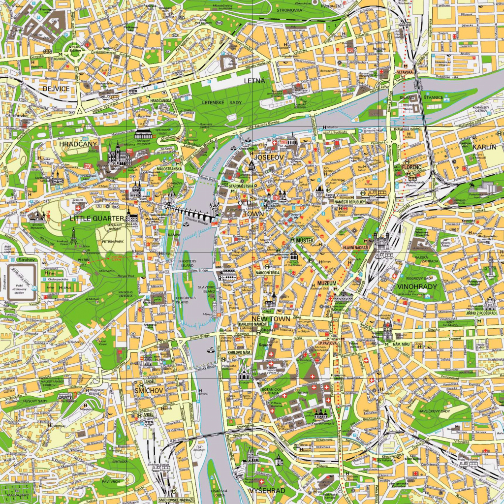 Large Prague Maps For Free Download And Print | High-Resolution And intended for Printable Map Of Prague