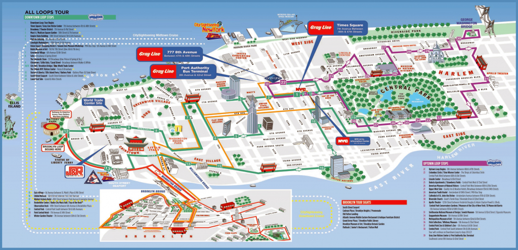 Large Printable Tourist Attractions Map Of Manhattan, New York City intended for Printable Map Of New York