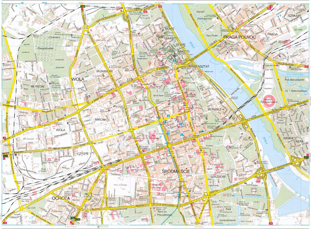 Large Warsaw Maps For Free Download And Print   High-Resolution And with Warsaw Tourist Map Printable