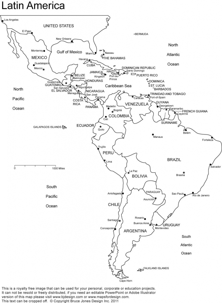 Latin America Printable, Blank Map, South America, Brazil with Blank Map Of Central And South America Printable
