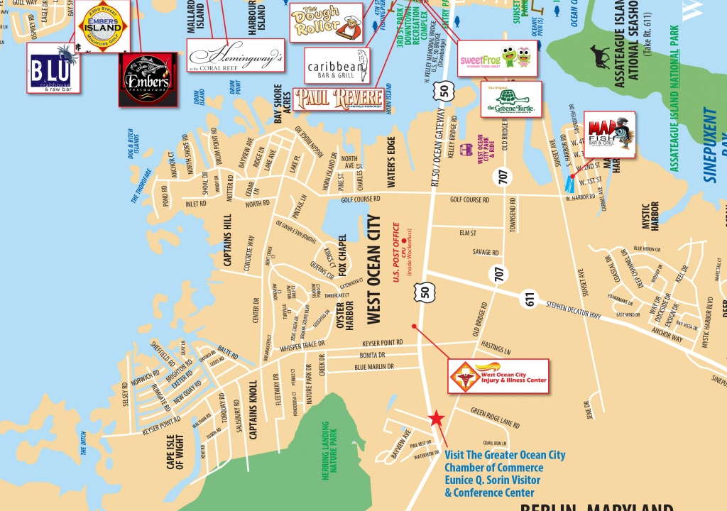 Local Maps | Ocean City Md Chamber Of Commerce in Printable Map Of Ocean City Md Boardwalk