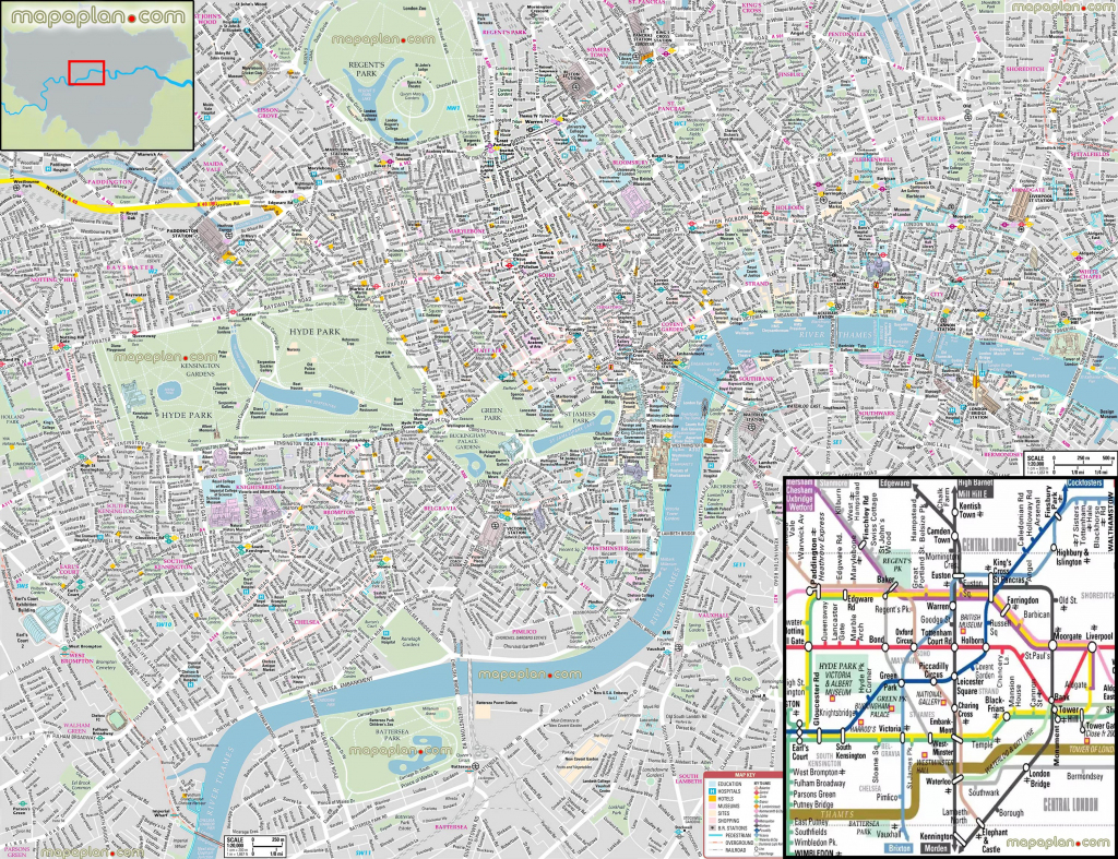 London Maps - Top Tourist Attractions - Free, Printable City Street in Free Printable City Street Maps