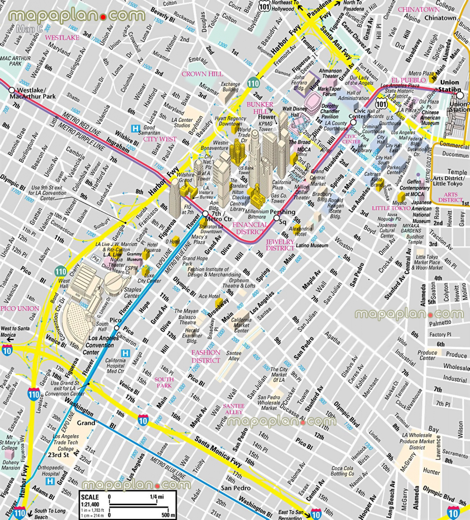 Los Angeles Map - Downtown Financial District - 3D Bird's Eye Aerial for Printable Aerial Maps