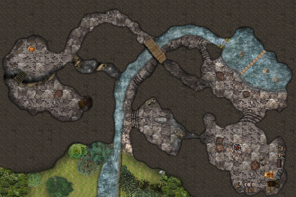 Lost Mine Of Phandelver: Cragmaw Hideout And Cragmaw Castle (Battlemaps) pertaining to Cragmaw Hideout Printable Map