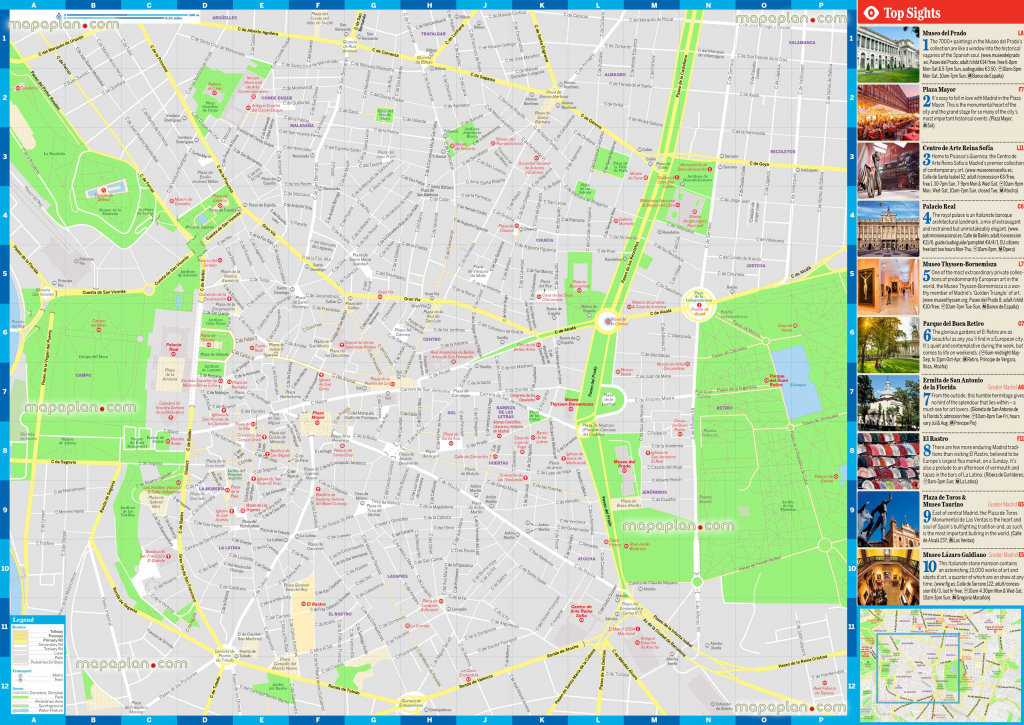 Madrid Maps - Top Tourist Attractions - Free, Printable City Street in Printable Map Of Madrid