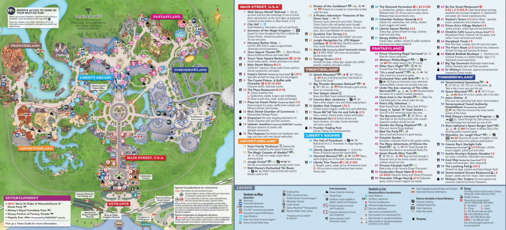 Magic Kingdom Park Map - Walt Disney World with regard to Printable Epcot Map 2017