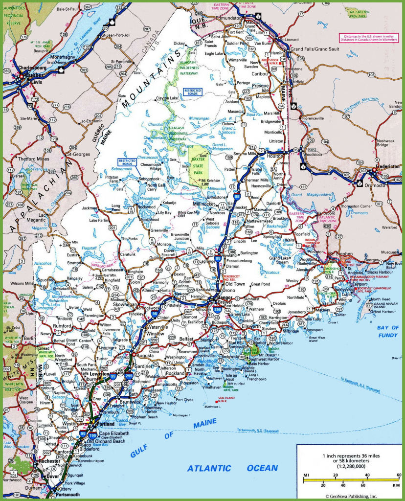 Maine Road Map throughout Printable Road Map Of Maine