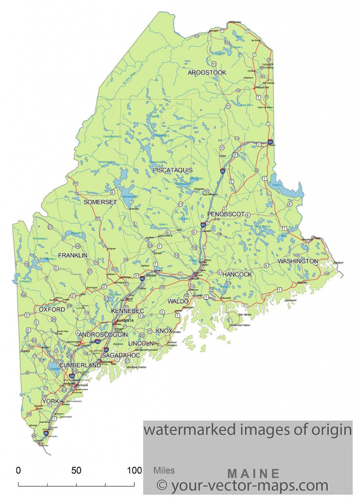 Maine State Route Network Map. Maine Highways Map. Cities Of Maine inside Maine State Map Printable