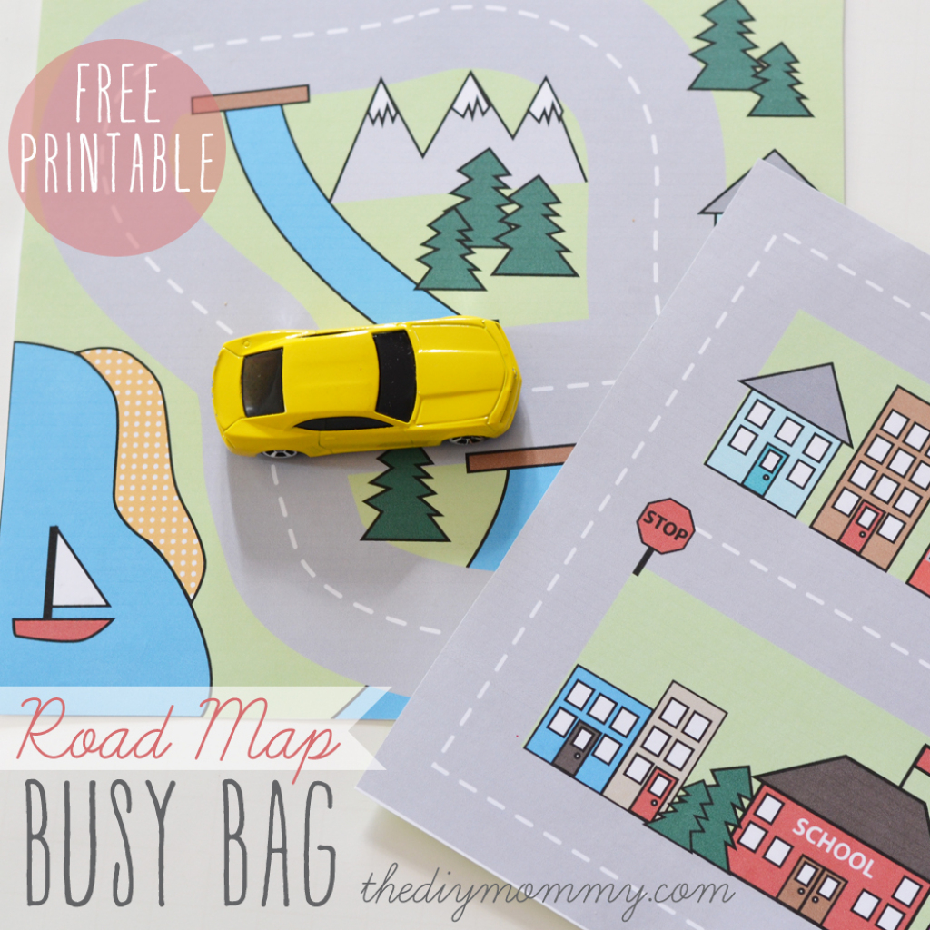 Make A Mini Road Map Busy Bag - Free Printable | The Diy Mommy inside Printable Travel Maps