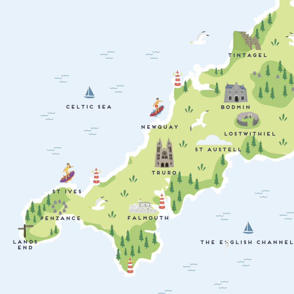 Map Of Cornwall Printpepper Pot Studios | Notonthehighstreet inside Printable Map Of Cornwall