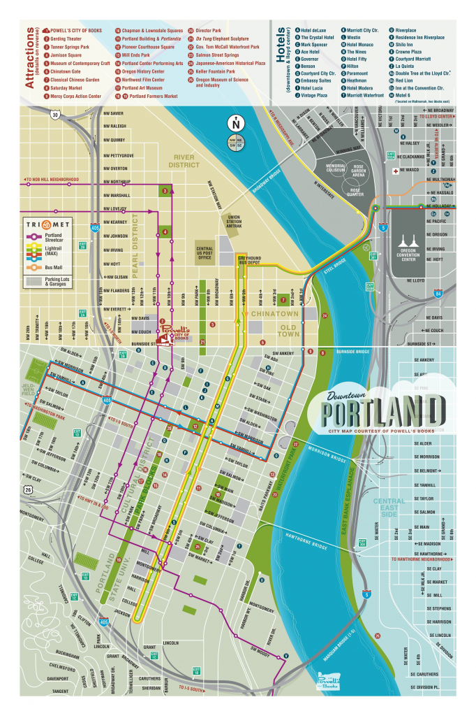 Map Of Downtown Portland - Courtesy Of Powell's Books | Maps In 2019 pertaining to Printable Map Of Portland Oregon