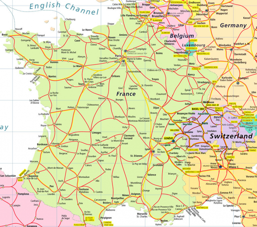 Map Of France And Switzerland - Recana Masana in Printable Road Map Of France
