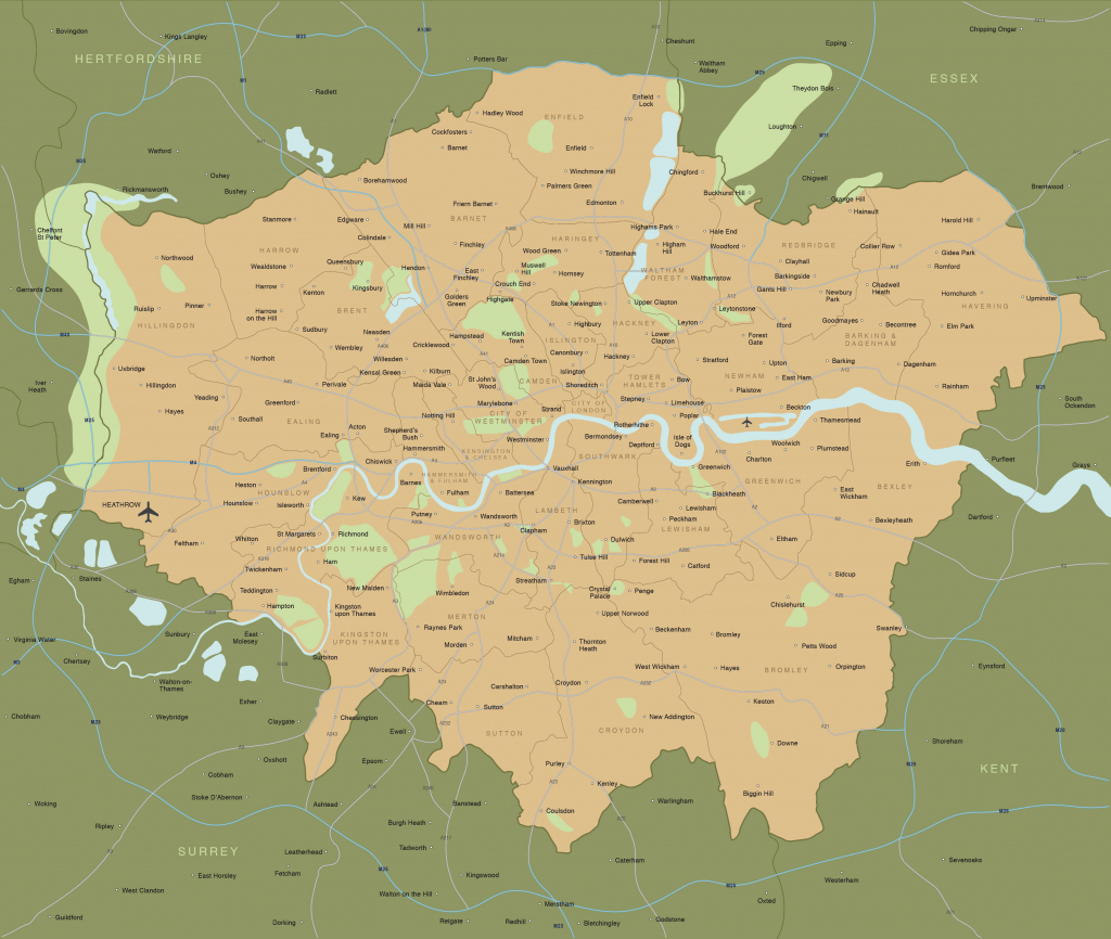 Map Of Greater London Districts And Boroughs - Maproom pertaining to Printable Map Of London Boroughs