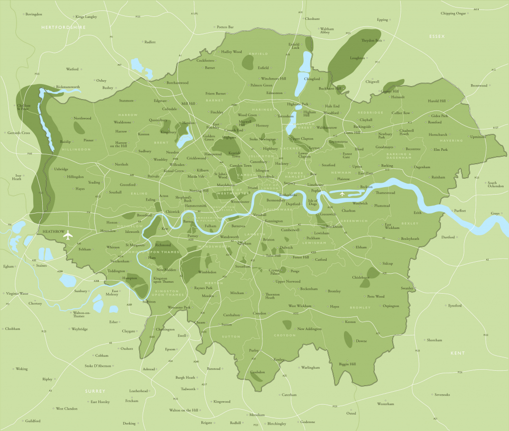 Map Of Greater London Districts And Boroughs - Maproom within Printable Map Of London Boroughs