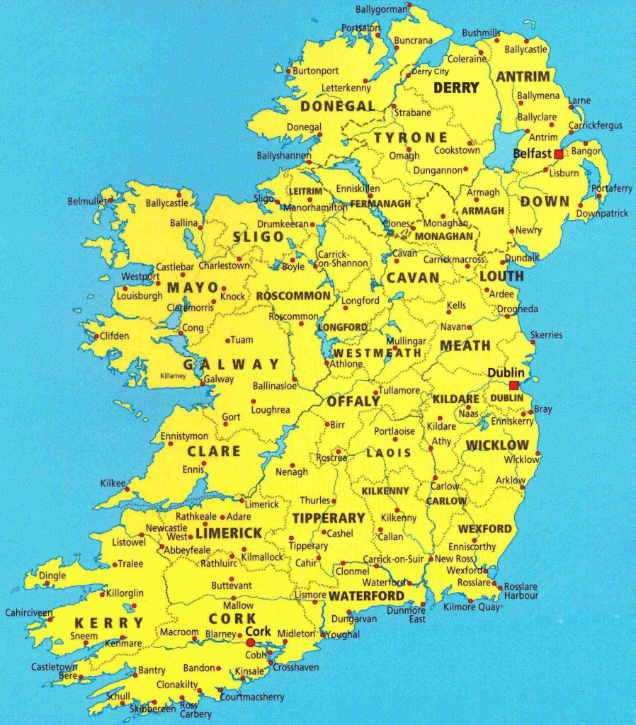 Map Of Irish Cities And Travel Information | Download Free Map Of pertaining to Printable Map Of Ireland Counties And Towns