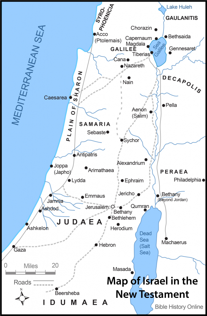 Map Of Israel In The Time Of Jesus Christ With Roads (Bible History within Printable Bible Maps