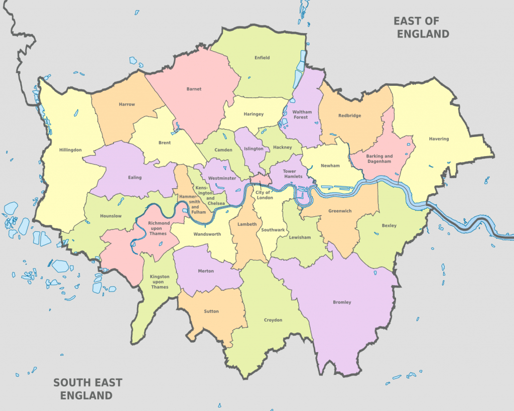 Map Of London 32 Boroughs & Neighborhoods regarding Printable Map Of London Boroughs