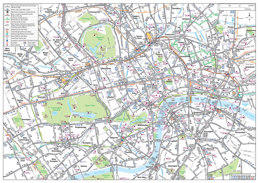 Map Of London Bus & Night Bus: Stations & Lines within Central London Map Printable