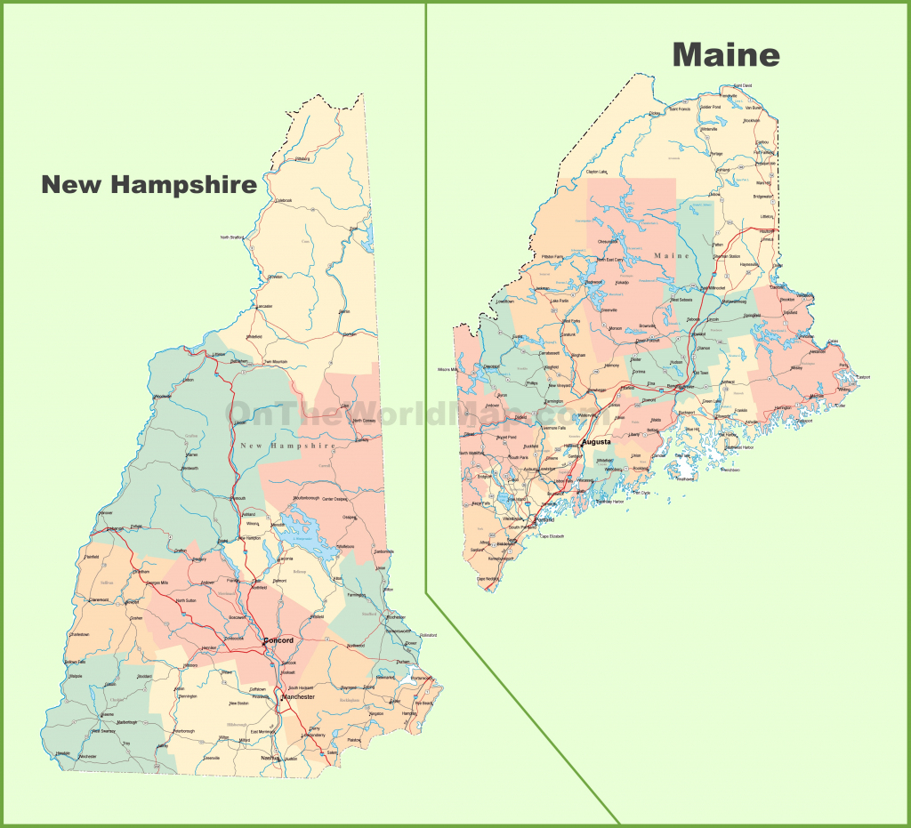 Map Of New Hampshire And Maine with regard to Printable Road Map Of Maine