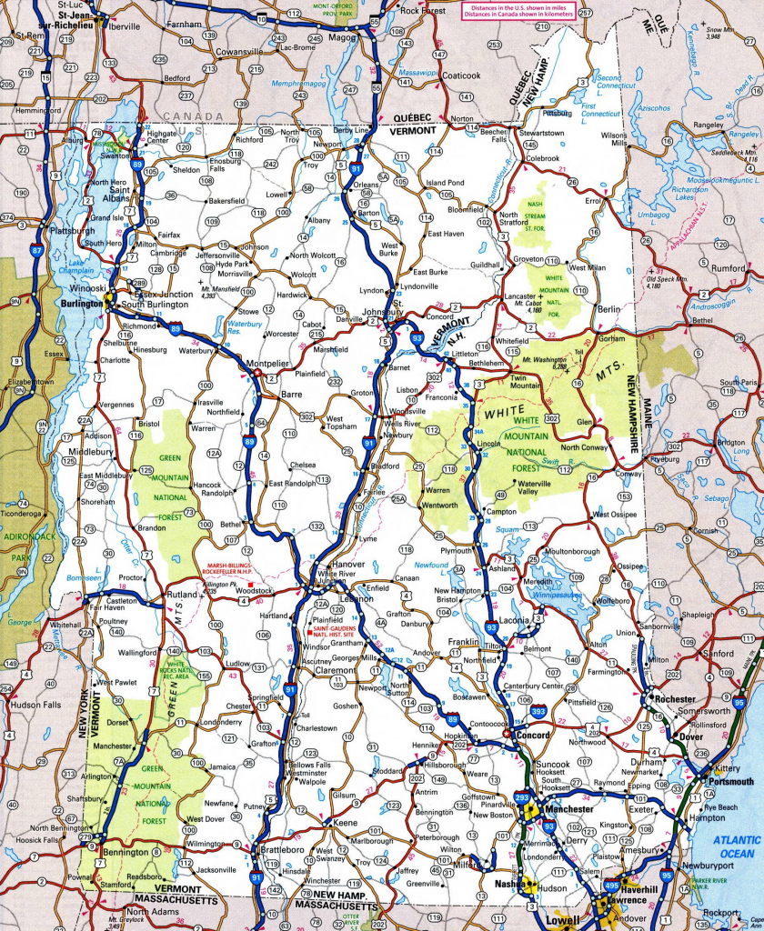 Map Of New Hampshire And Vermont with regard to Printable Road Map Of New Hampshire