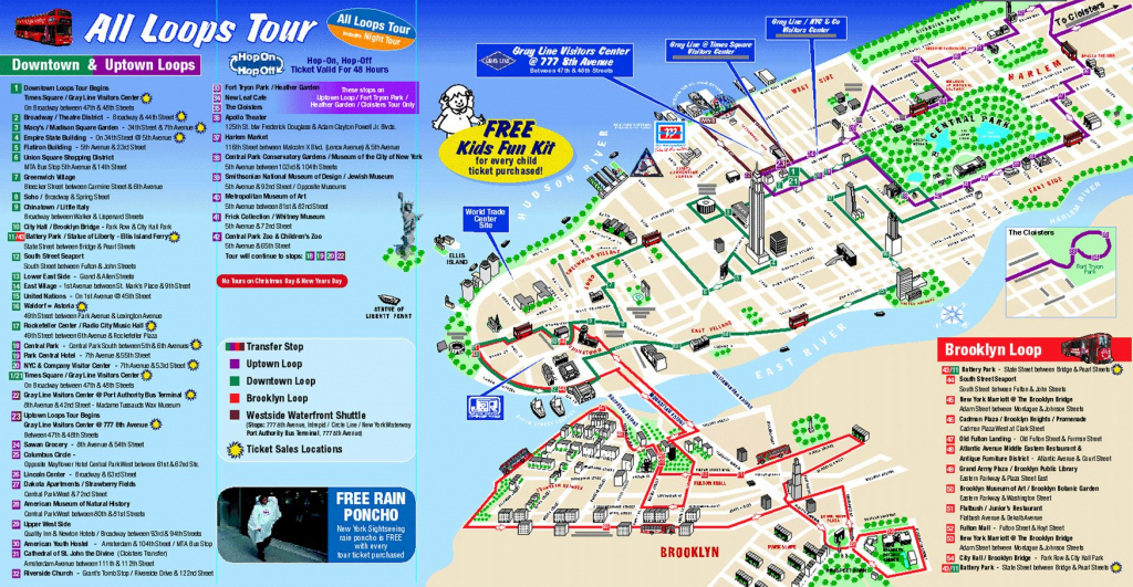 Map Of New York City Attractions Printable |  Tourist Map Of New regarding Manhattan Map With Attractions Printable