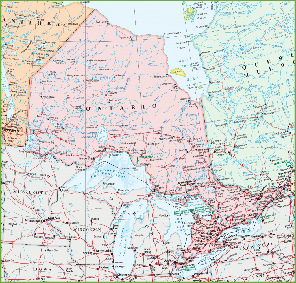 Map Of Ontario With Cities And Towns within Printable Map Of Canada With Cities