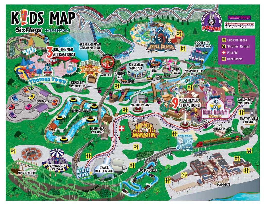 Map Of Six Flags Over Georgia | Country Map with Printable Six Flags Over Georgia Map