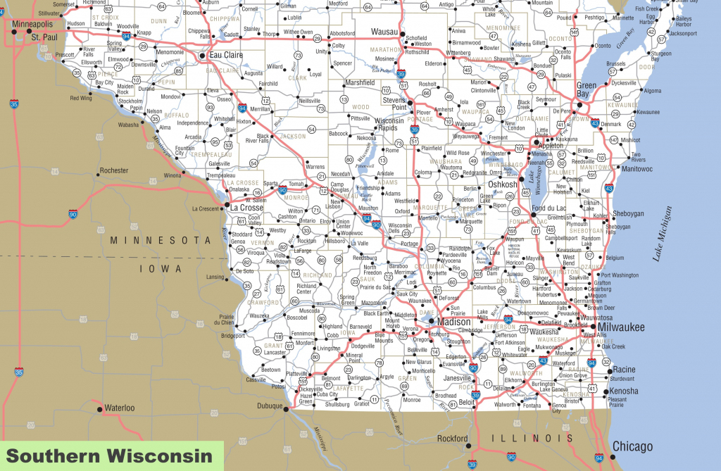 Map Of Southern Wisconsin with regard to Printable Map Of Wisconsin