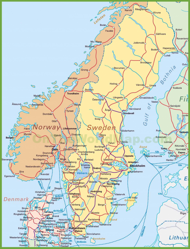 Map Of Sweden, Norway And Denmark in Printable Map Of Denmark