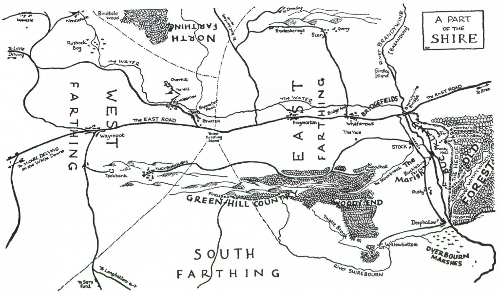 Map Of The Shire - J.r.r. Tolkien with Printable Hobbit Map