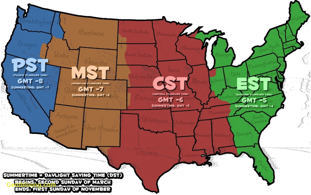 Map Of The Us With Time Zones Us Timezones Awesome Printable Map Of in Us Map With States And Time Zones Printable