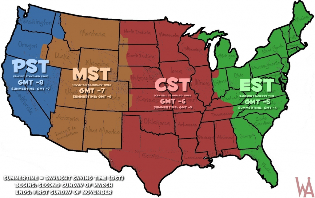 Map Of Time Zones In The Us Usa Time Zone Map Inspirational pertaining to Usa Time Zone Map Printable