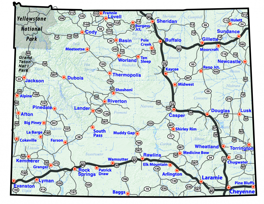 Maps in Wyoming State Map Printable