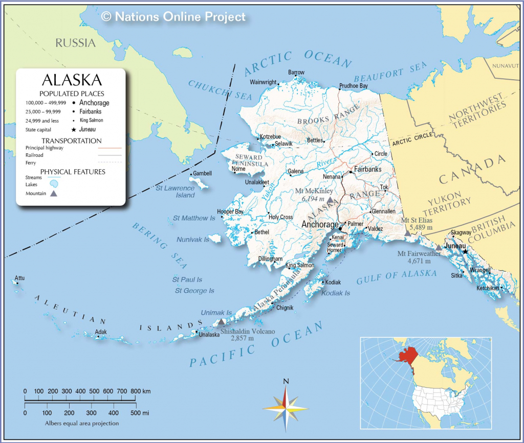 Maps Of Alaska State, Usa - Nations Online Project pertaining to Printable Map Of Alaska With Cities And Towns