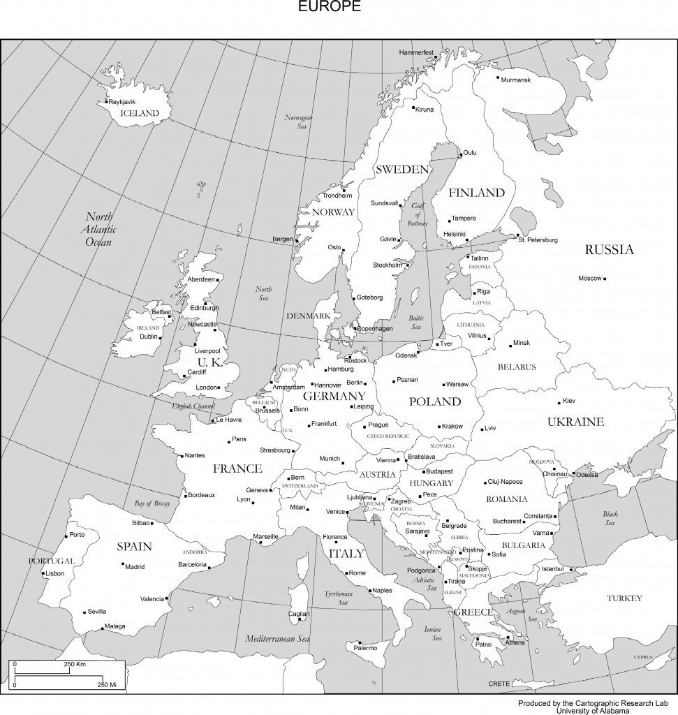 Maps Of Europe for Printable Map Of Europe With Capitals