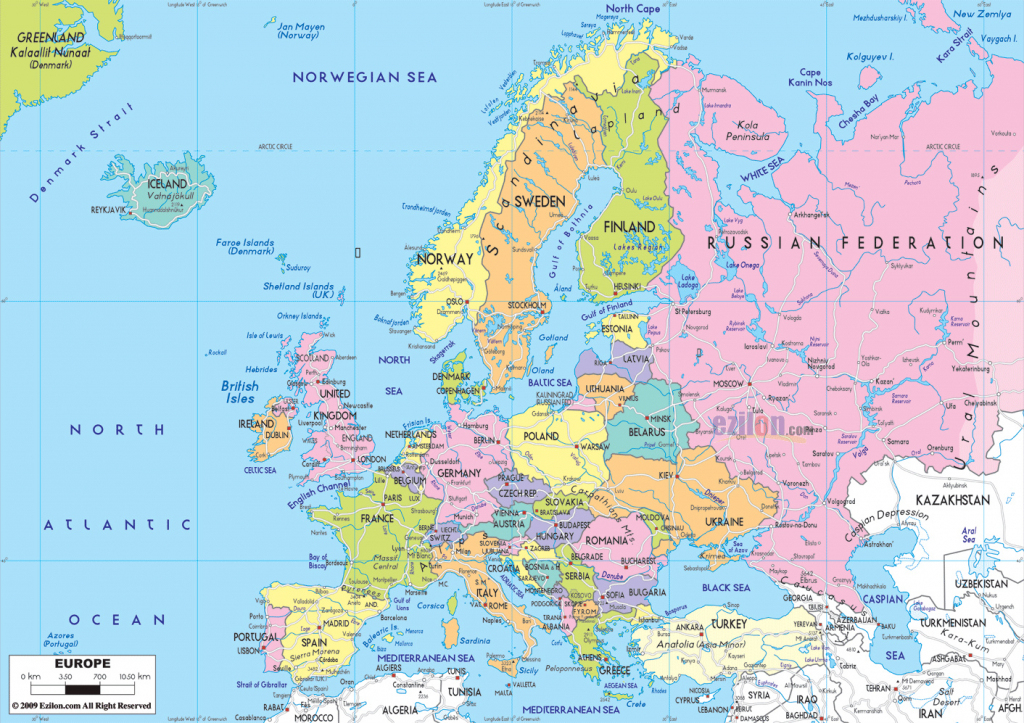 Maps Of Europe   Map Of Europe In English   Political throughout Printable Map Of Europe With Cities