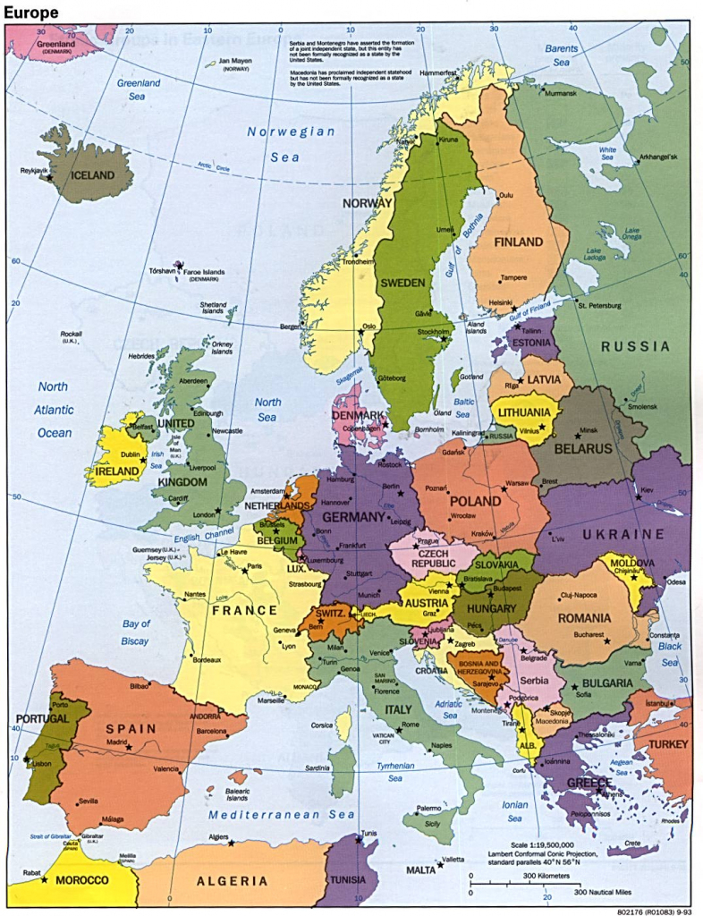 Maps Of Europe | Map Of Europe In English | Political with Printable Map Of Europe With Major Cities