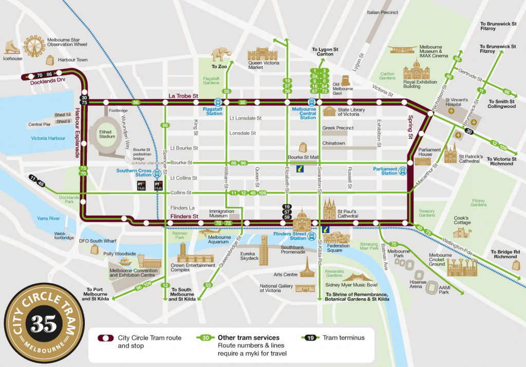 Melbourne City Circle Tram Map throughout Melbourne City Map Printable