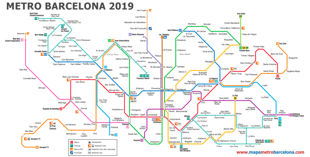 Metro Map Of Barcelona 2019 (The Best) in Printable Metro Map