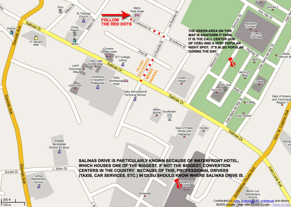 Metro Park Hotel Map (Print Version) inside Cebu City Map Printable